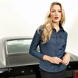 PR322 Premier Camicia donna in denim 100% con taschine chiuse con pattina