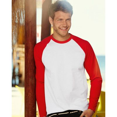 610280 Fruit of the Loom Baseball Longsleeve T-shirt Baseball maniche lunghe 100% cotone Thumbnail