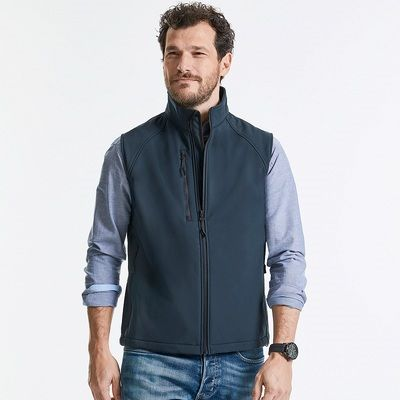 R141M Russell Gilet uomo softshell a tre strati con tasca frontale Thumbnail