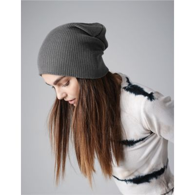B461 Beechfield  Slouch Beanie Hat Berretto invernale lungo maglia a costine Thumbnail