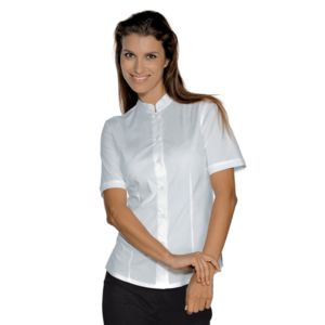 025800M Isacco Camicia donna mezza manica coreana Hollywood Stretch 136 gr/m² Thumbnail